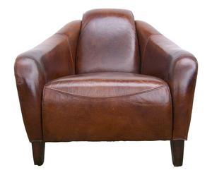Fauteuil VINTAGE cuir de vachette, marron - L95