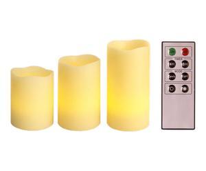 3 Bougies LED LIZ - crème