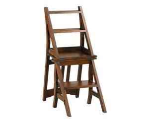 Chaise escabeau bois de mahogany, marron - L45