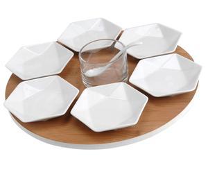 Plateau 6 verrines céramique et verre, blanc et naturel - H7