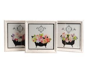 3 Cadres FLOWERS bois de pin, multicolore - L36