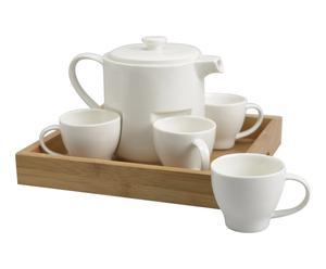 Service à thé bois et porcelaine, naturel et blanc - L24