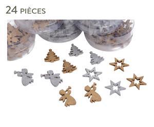 24 Décorations de noël bois, cuivré et argenté - L7