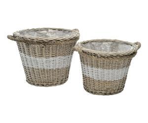 2 Cache-pot bois de saule et lin, naturel et blanc - L40