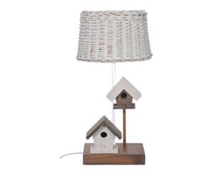 Lampe à poser osier et bois, naturel et blanc - H39
