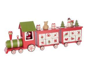 Train-calendrier de l\'avent bois, rouge et blanc - L48