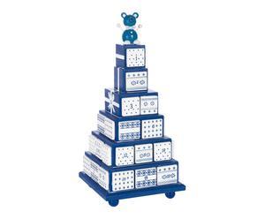 Tour décorative-calendrier de l\'avent bois, bleu et blanc - H34