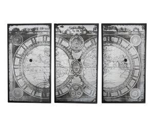 3 Cadres miroir MUNDO bois de sapin et verre, noir - 186*112