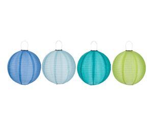 4 Lampions LED lumineux, bleu et vert - L44
