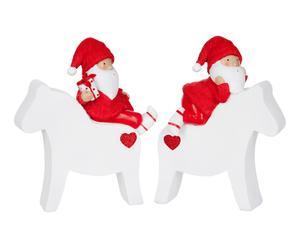 2 Père noël décoratif, rouge et blanc - H21