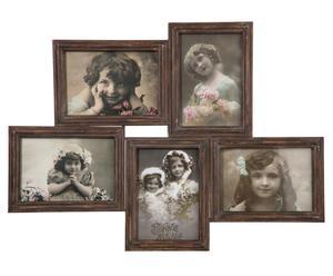 Cadre photos fer et verre, marron - 55*40