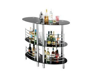 Meuble de bar chrome et verre, noir et argenté - H107