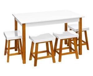 Table et 4 tabourets SCANDI, bois de pin - blanc et naturel