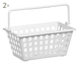 2 Paniers pour salle de bain, blanc - 23*14
