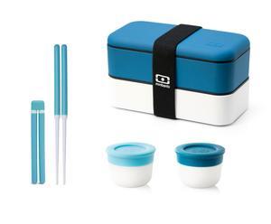 Ensemble déjeuner bento original, bleu et blanc - 4 pièces