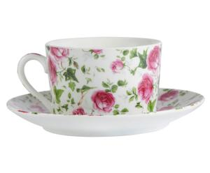 Tasse à thé et soucoupe porcelaine, multicolore - Ø10