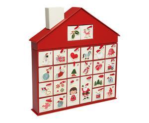 Calendrier de l\'avant HOUSE carton, rouge et multicolore - 26*28