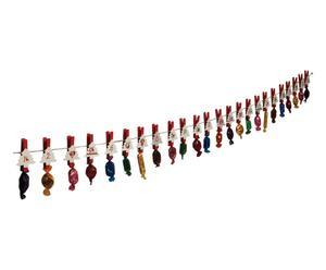 Guirlande calendrier de l\'avant TREE bois, rouge et blanc - 170*7