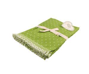 3 Chemins de table Printemps Coton, Vert pomme et blanc - 50*150