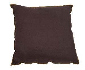 Coussin lin avec liseré, Chocolat - 70*70
