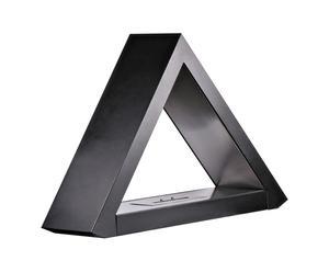 Cheminée de sol triangulaire, métal et verre borosilicate – L100