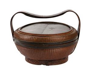 Panier pique-nique antique chinois, Rotin - Ø30