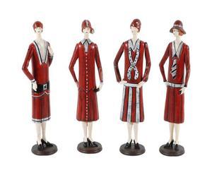 4 Figurines bois, Rouge et gris – H38