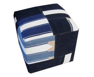 Pouf palissandre et coton, Blanc et bleu - L45