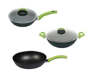 Batterie de cuisine YUNG Aluminium, Noir et vert - 3 Pièces