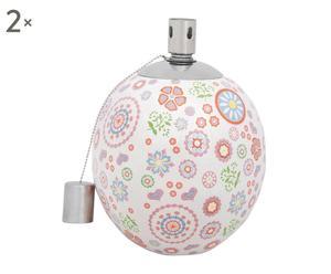 2 Lampes à huile FLOWER Céramique, Multicolore - Ø12