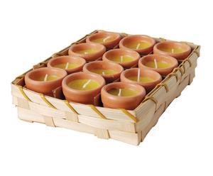 12 Bougies CITRONELLA Paraffine, citronnelle et terre cuite - Ø4