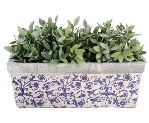 Jardinière Céramique, Blanc et bleu - L39