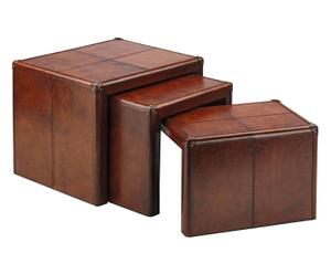 3 tables d'appoint TYRA Peau, Marron