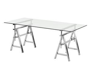 Table basse NIKI Acier et verre, Argenté - L19