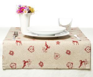 Chemin de table Coton mélangé, Crème et rouge - 50*150
