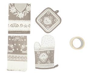 Ensemble de cuisine, Coton et polyester - Blanc et beige