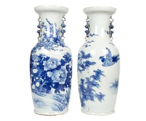 2 Vases chinois Porcelaine, Blanc et bleu - XL