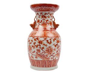 Vase chinois Porcelaine, Rouge et blanc - M