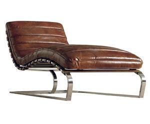 Chaise longue, métal et cuir - L149