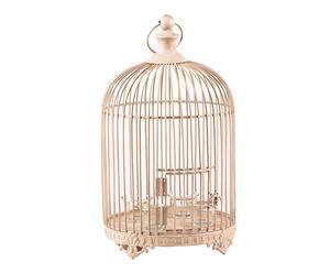 Cage décorative avec 4 bougeoirs Métal et verre, Blanc - H45