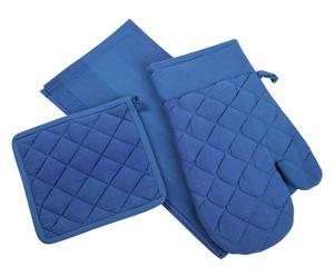 Gant, manique et torchon Coton - Bleu
