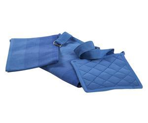 Tablier, manique et torchon Coton - Bleu