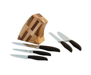 Porte-couteaux et 5 Couteaux, naturel