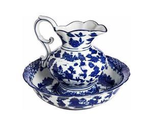 1 Pichet et 1 Vasque, Porcelaine - Blanc et bleu