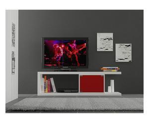 Meuble TV, Blanc et rouge - L140