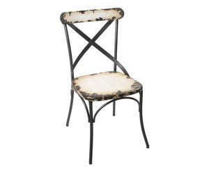 Chaise Métal, Noir et beige - L45