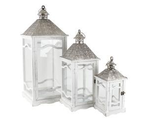 3 Lanternes, bouleau et métal - Blanc et argenté