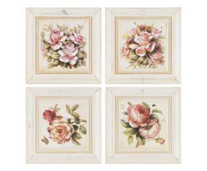 4 Peintures sur bois rose - 32*32