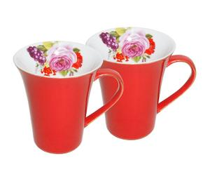 2 Mugs Porcelaine, Rouge - H12