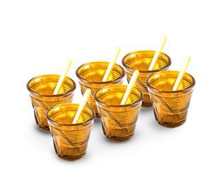 6 Tasses et 6 Touillettes verre, orange - 11cL